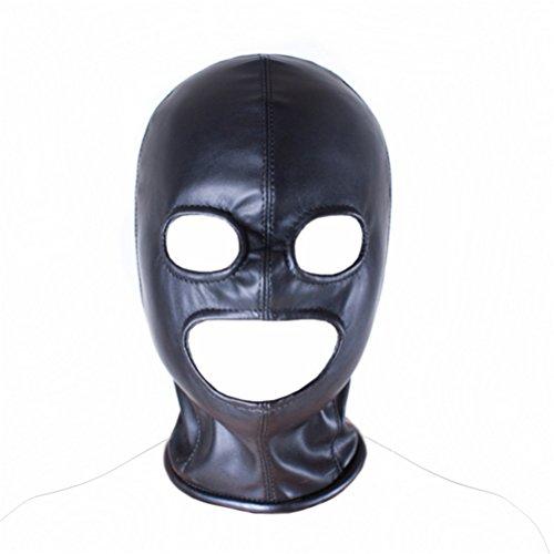 Love Secret PU Leather Black Hood Mask Open Mouth Eyes 3 Holes Bondage Hood , Sex Fetish Hood in BDSM Sex Game (M Size) by ASL