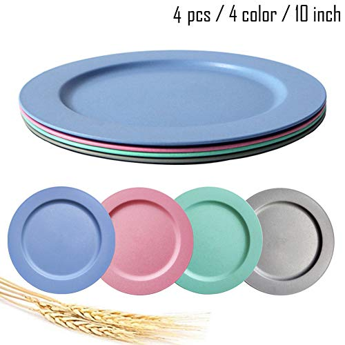10inch/4pcs Dishwasher & Microwave Safe Wheat Straw Plates - Lightweight & Unbreakable,Non-toxin, BPA free and Healthy for Kids Children Toddler & Adult (4color4pcs) (4 pcs)