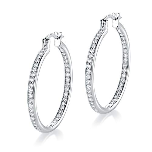 MDFUN 14k White Gold Plated Hoop Earrings for Women