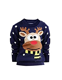 YJ.GWL Girls Christmas Sweater Kids Deer Knit Pullover Sweater