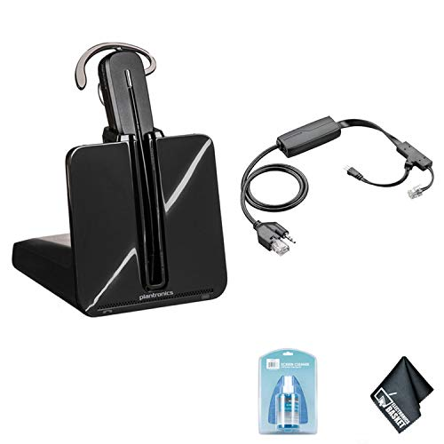 Plantronics CS540 Wireless Office Headset System – Bundle with Plantronics APP-51 Electronic Hook Switch for Polycom + Universal Screen Cleaner + Microfiber Cleaning Cloth