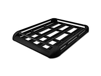 "50"" BLACK ALUMINUM ROOF RACK BASKET CAR TOP CARGO BAGGAGE CARRIER STORAGE ( Cross Bars Are NOT Included )"