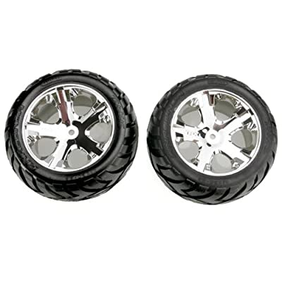 Traxxas 3773 Anaconda Tires Pre-Glued on All Star Chrome Wheels (pair) (electric rear): Toys & Games