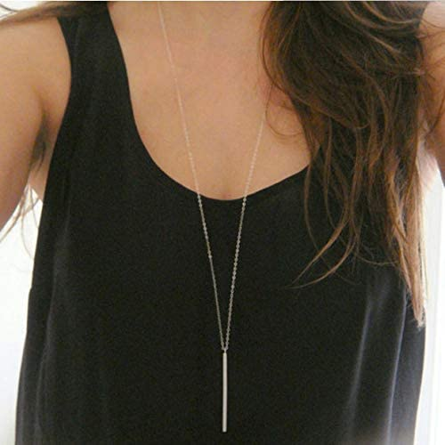 Luxcastle Bar Necklace Simple Long Vertical Bar Necklace Long Chian for Women and Girls