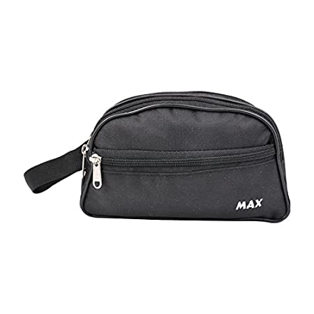 PSH Shaving and Makeup Bag Max Polyester Made Travel Pouch for Men  Black  Travel Duffles