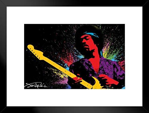 Pyramid America Jimi Hendrix Paint Splatter Music Matted Framed Poster 20x26 inch