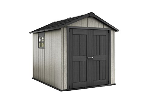 Keter Oakland 7.5 x 9 Outdoor Duotech Storage Shed, Paintable with Window and Skylight, Grey (Storage Shed Wood Resin)