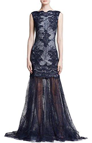 Tadashi Shoji Sleeveless Sequin Lace Illusion Hem Gown Navy/Ivory Size 4