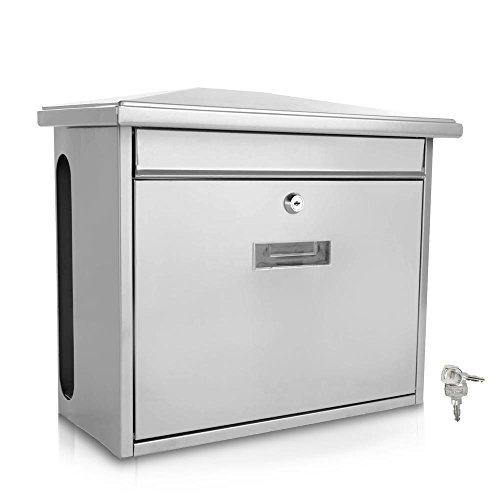 Serenelife Modern Wall Mount Lockable Mailbox - Outdoor Galvanized Metal Key Large Capacity - Commercial Rural Home Decorative & Office Business Parcel Box Packages Drop Slot Secure Lock SLMAB08 White