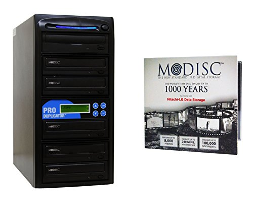 Produplicator 1 to 5 M-Disc Support CD DVD Duplicator Bundle with 1 Pack M-DISC DVD and Nero Burning Software (Upto 24X DVD Burn Speed) (Blu Ray Vcr Combo Player)