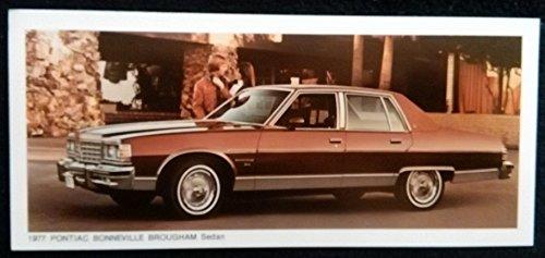 - 1977 PONTIAC BONNEVILLE BROUGHAM Sedan COLOR SALES CARD STUFFER BROCHURE - GREAT ORIGINAL - USA !!