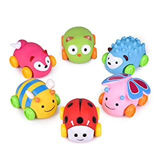 6 PCs Soft Rubber Baby Cars Toys, Toddler Pull Back Cars, Bath Animal Car Toys, Great Gift for Boys, Toys for 1,2,3,4 Year Old Boy