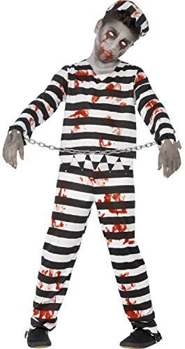 Boys Girls Teens Dead Zombie Bloody Black White Striped Prisoner Convict Prison Jail Halloween Fancy Dress Costume 4-14 Years (10-12 -