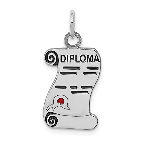 Mia Diamonds 925 Sterling Silver Diploma Polished Charm (20mm x 12mm) ()