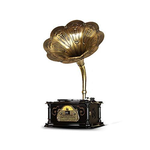 GOM Tocadiscos, Gramófono Retro con 3 Velocidades 33/45/78 RPM Discos de Vinilo Apoyo Reproductor de CD Puerto USB Salida RCA GOM-007 (Color : Negro, ...