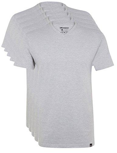 Ultrasport Herren Sport Freizeit T-Shirt mit V-Ausschnitt 5er Set, Grau Melange, XL, 1318-150