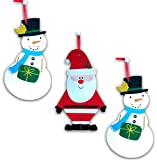Sparkly Glittery Snowman and Santa Signs for Windows Wall Hanging Doors School Classroom or Home Decoration Bundle of 3 18.5 inch signs - 2 Snowmen 1 Santa