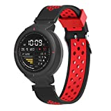 Two-Tone Porous Replacement Sports Texture Soft Silicone Watch Band Wrist Strap for Huami Amazfit Verge (Red)