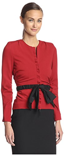 Valentino Women's Ruched Blazer, Red, 8 (Valentino Red Coat)