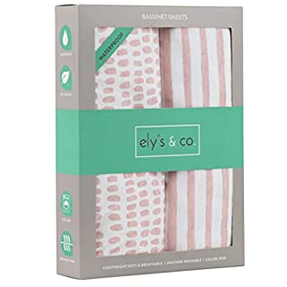 Ely's & Co. Waterproof Bassinet Sheet,No Need for Bassinet Mattress Pad Cover, 2 Pack Mauve Pink Splash & Stripes,for Baby Girl