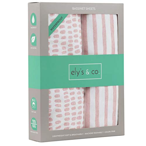 Elys & Co. Waterproof Bassinet Sheet,No Need for Bassinet Mattress Pad Cover, 2 Pack Mauve Pink Splash & Stripes,for Baby Girl