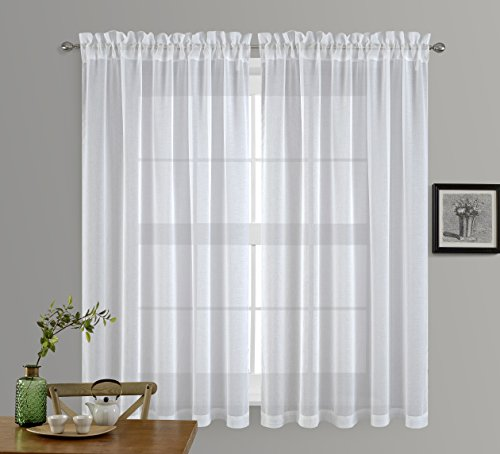 NICETOWN Sheer Window Curtains for Guestroom - Faux Linen Sheer Curtains 63 inch Length for Living Room (White, 2 Pieces, 55 inch Wide Each Panel)