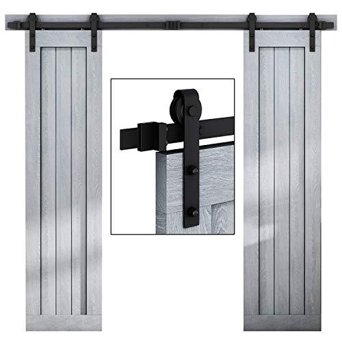 """EaseLife 6.6 FT Double Door Sliding Barn Door Hardware Track Kit,Heavy Duty,Easy Install,6.6FT One Piece Track,Slide Smoothly Quietly,Fit Double 20"""" Wide Door (6.6FT Track Double Door Kit)"""
