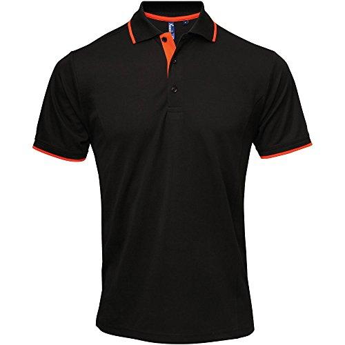 Premier Mens Coolchecker Contrast Trim Corporate Workwear Polo Shirt Black / Orange