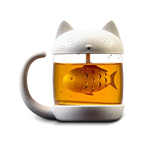Cute Cat Tea Mug   Glass Tea Cup With Detachable Fish Infuser Strainer Filter Cat Tail Mugs Lovely Tea Or Coffee Cup With A Lid   Unique Gift For Cat Lovers  Girls   8 5Oz 250Ml
