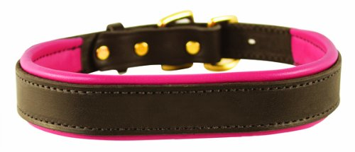 "Perri's Padded Leather Dog Collar, Havana/Pink, Medium/1"" x 21"" - fitting dogs with 12 - 16"" necks"