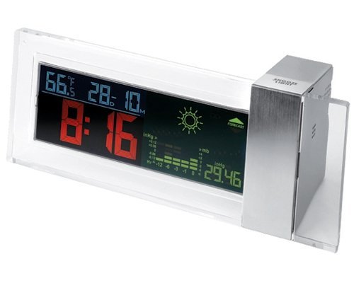 StealStreet SS-KD-959 Battery Powered Colored LCD Clock with Weather and Forecast Display - Chronometer Silver Watch
