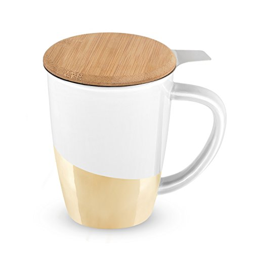 Bailey Ceramic Tea Mug   Infuser by Pinky Up  Gold Dipped  Deal (Large Image)