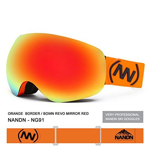 SE7VEN Lunettes De Sécurité Enfants,Double Couche Anti-buée Protection Uv Lunettes De Ski Sans Cadre orange
