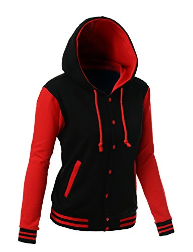 Review Stylish Color Contrast Long Sleeves Hoodie Varsity Jacket Black Red S