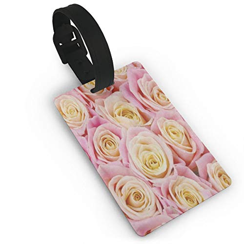 - Luggage Tags Travel ID Label Leather For Baggage Suitcase Bunch Of Pink Yellow Rose Flower Business Card Holder