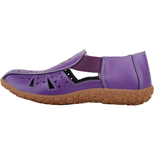 Absolute Footwear Womens Casual Elasticated Leather Summer/Holiday Sandals/Shoes Plum RJOOTEGef3