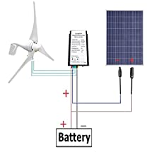 ECO-WORTHY 12 Volts 500 Watts Wind Solar Generator Kit: 12V/24V 400W Wind Turbine + 12V 100W Polycrystalline Solar Panel + 24cm Cable with MC4 Connector