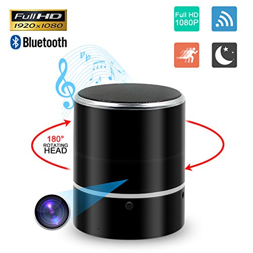 Spy Hidden Bluetooth Speaker Camera, ZDMYING Rotate 180? 1080P WiFi cam, Music Player Nanny Security with Night Vision/Motion Detection/Loop Recording, for Home Security Monitoring Real-Time View