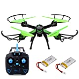 JJRC H98 RC Quadcopter Drone with Camera 2.4GHz 4CH 6-Axis Gyro Radio Control Helicopter Quad, Headless Mode, 3D Rollover, 2 batteris, Green