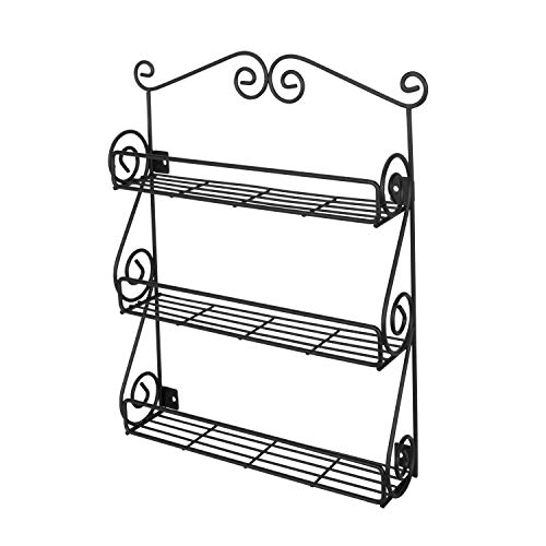 Spectrum Diversified Scroll Spice Wall Mount Rack, Black (Jar Rack Traditional)