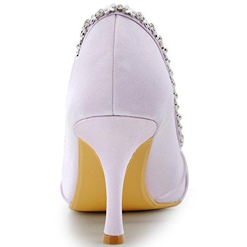 ElegantPark EP2094 Mujer Peep Toe Plisado Rhinestones El tacón alto Satén Noche Zapatos de Baile Lavanda