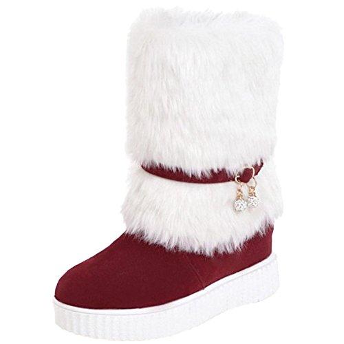 Vulusvalas Femmes Red De D'hiver Bottes Pour Neige Pull On rXqrxR
