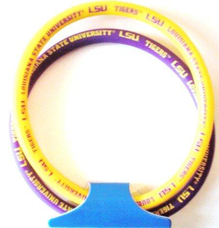 College Bracelets - NCAA Set of 2 Silicone Gel Bracelets - Pick Your College Team! (LSU)