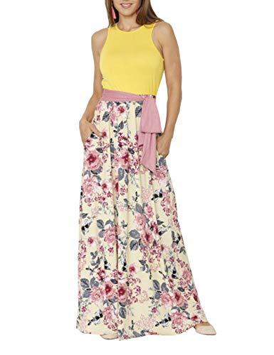 DUNEA Women's Maxi Dress Floral Printed Autumn 3/4 Sleeve Casual Tunic Long Maxi Dress (Medium, Yellow)