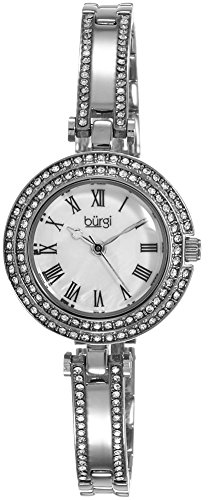Burgi Women's BUR108SS Swiss Quartz Crystal Mother-of-Pearl Silver-tone Bracelet Watch