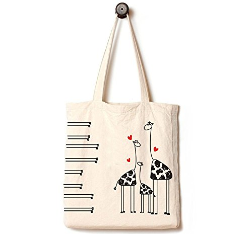 [Upgraded] Andes Heavy Duty Gusseted Canvas Tote Bag, Handmade from 12 Ounce Pure Cotton, Perfect for Shopping, Laptop, School Books,The Giraffe Family