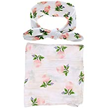 Baby Cotton Swaddling & Receiving Blanket and Hair Bow Headband Set (Flower Print)