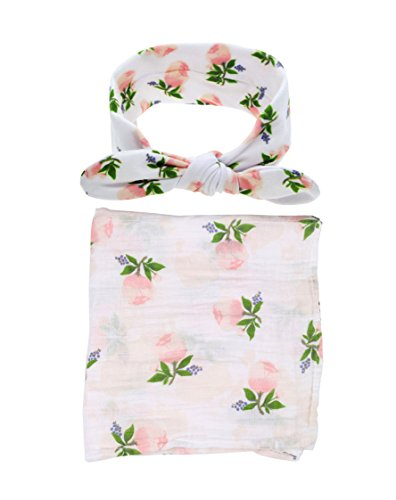 Baby Cotton Swaddling & Receiving Blanket and Hair Bow Headband Set (Flower -