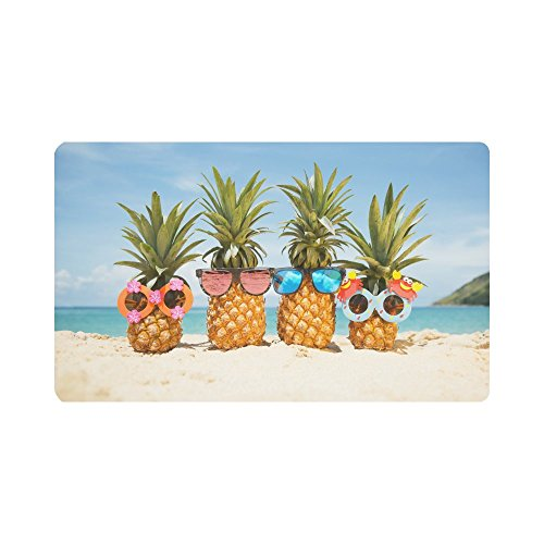InterestPrint Funny Tropical Summer Beach Pineapples Doormat Non-Slip Indoor And Outdoor Door Mat Rug Home Decor, Entrance Rug Floor Mats Rubber Backing, Large 30