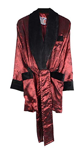 Bown of London Mens Satin Effect Burgundy Smoking Jacket with Black Velvet Shawl Collar - XL